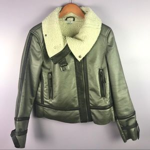 Tobi Size Medium Faux Leather Olive Green Jacket